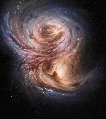 ilustração da fábrica de Estrelas no Universo longínquo