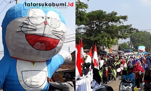 Doraemon Raksasa Turun Kejalan Ramaikan Arak Arakan Pawai Samenan Cibadak - Sukabumi