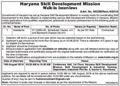HSDM Walk in INterview Notice 2018 www.indgovtjobs.in