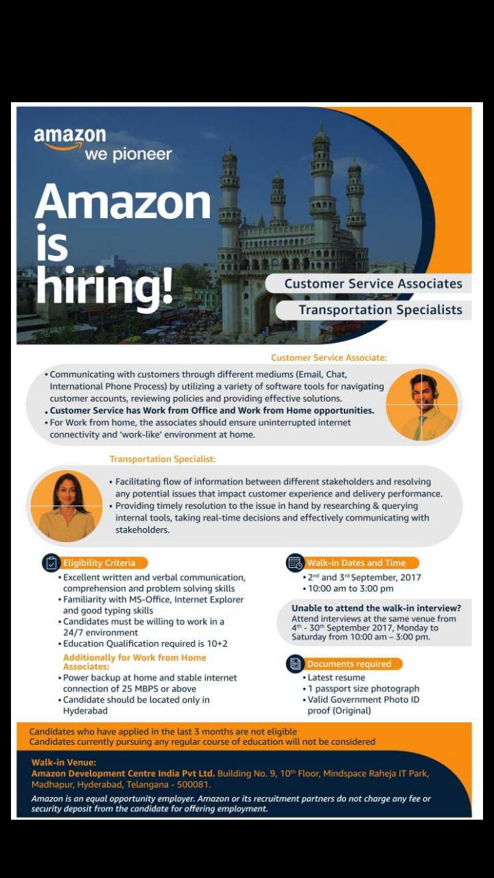 Amazon Customer Service Associates Transportation Specialists