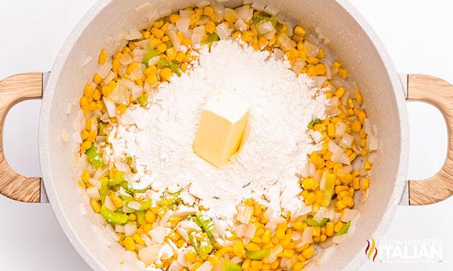 chicken corn chowder in dutch oven