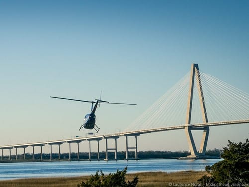 Helicopter taking off Charleston tours