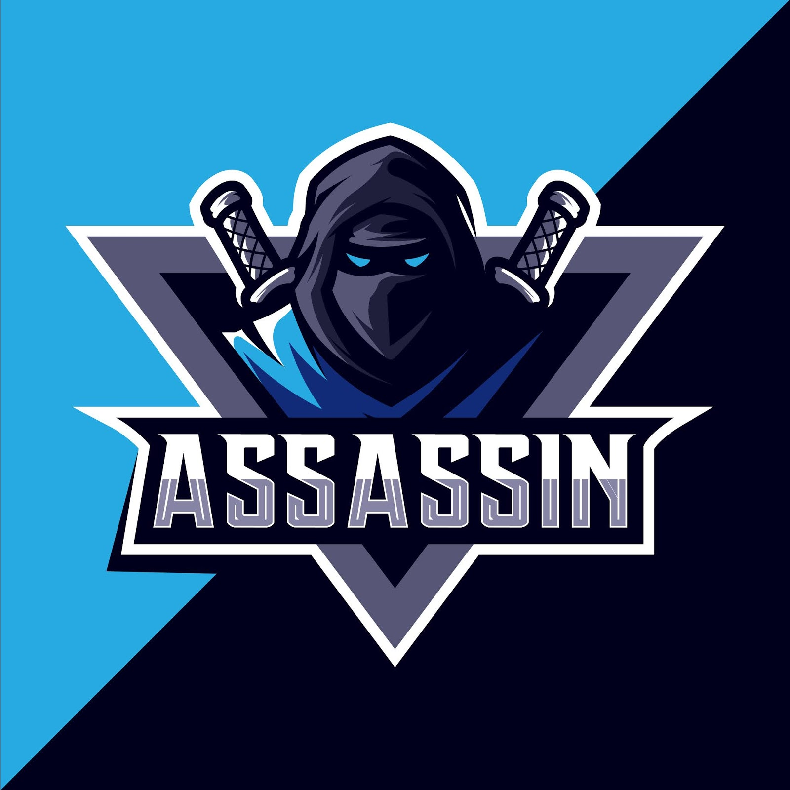 Assassin With Sword Mascot Esport Logo Design Free Download Vector CDR, AI, EPS and PNG Formats