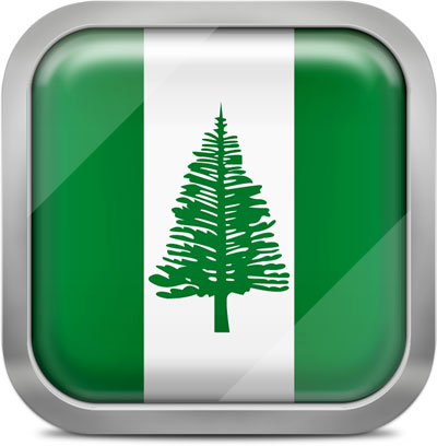 Norfolk Island square flag with metallic frame