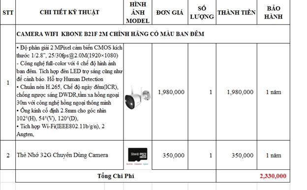 Bảng giá lắp đặt camera wifi KBONE B21F tại Quận 12