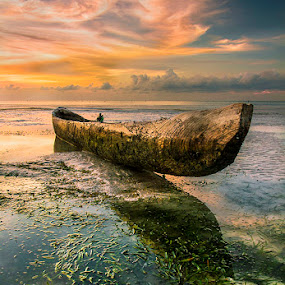 After the Rain by Sonny Saban - Transportation Boats ( clouds, sunset, sea, travel, beach, rote island )