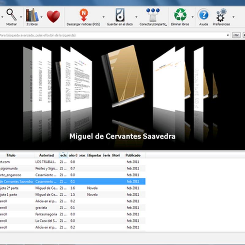 Guìa de Calibre, el iTunes de los libros electrónicos: la interfaz gráfica de usuario.