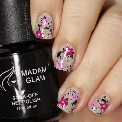 Madam Glam soak off gel nail art