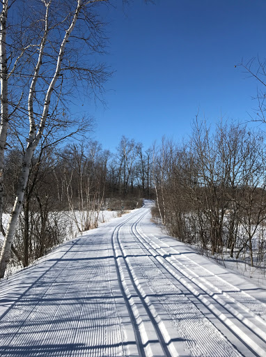 Crossing to western trails after fresh grooming