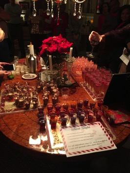 A table full of competing cocktail samples