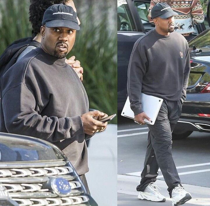 460681faf20d0 New Father of Three! Kanye West arrives at his office HQ in ...