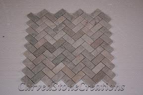 Flooring, Flooring & Mosaics, Herringbone, Interior, Marble, Mosaic, Natural, Pacific Pewter, Stone, Tile, Tumbled