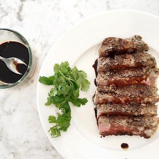 Delmonico Steak with mushroom crust