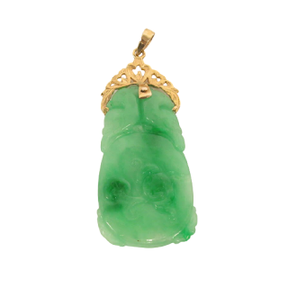 14K Gold and Carved Jade Pendant