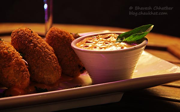 Mushroom and Parsley Croquettes at The Flying Saucer Sky Bar, Viman Nagar, Pune