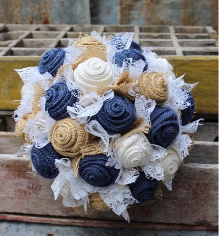 rustic burlap bouquet with navy