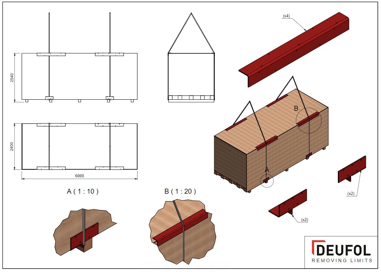Set van 4 stalen beschermingshoeken - deksel kist - 10 x 1500 / 145 * 145