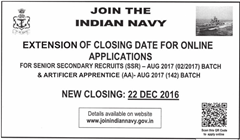 Indian Navy SSR AA 2017 Corrigendum