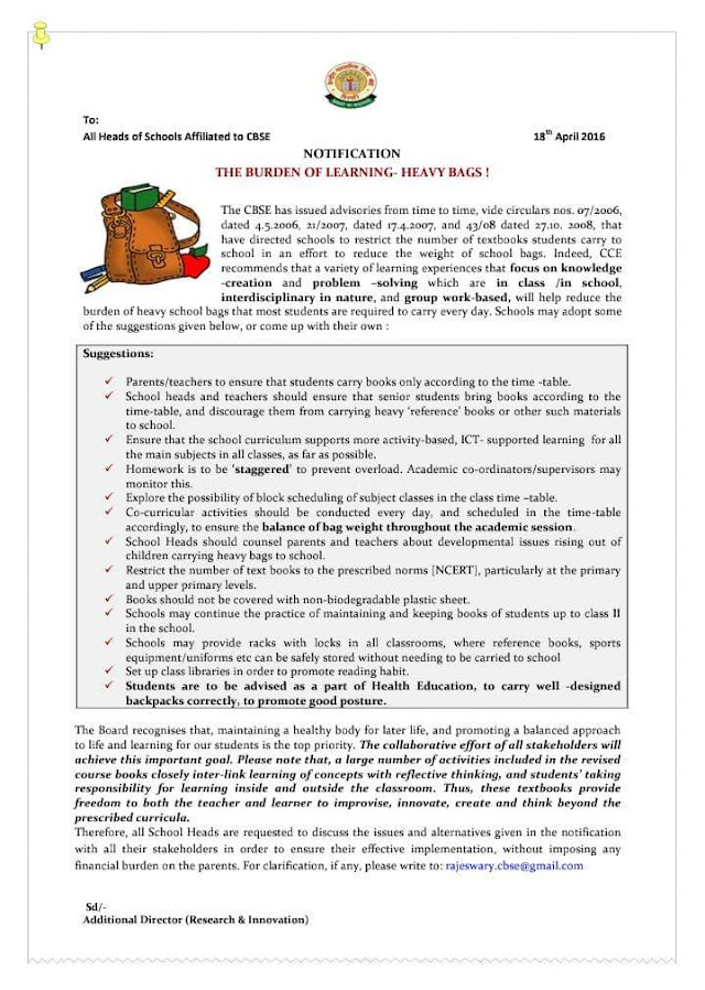 CBSE - NOTIFICATION - THE BURDEN OF LEARNING - HEAVY BAGS! SUGGESTIONS TO ALL HEADS OF SCHOOLS