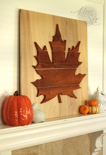 Reclaimed wood leaf silhouette