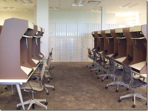 Microfilm readers and cabinets at the Riverton FamilySearch Center. Photograph by the Ancestry Insider.