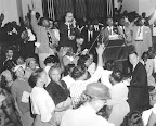 Montgomery Bus Boycott Support 1956 Rev. Martin Luther King, Jr., is cheered by supporters as he announces that he will continue boycotting the Montgomery bus lines, April 26, 1956. (AP/Wide World Photos)