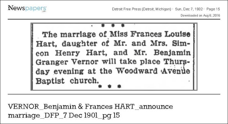 VERNOR_Benjamin__amp__Frances_HART_announce_marriage_DetFreePress_7_Dec_1901_pg_15