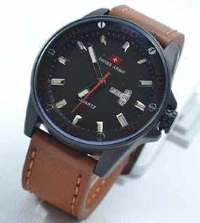 jam tangan Swiss army date day brown leather Red