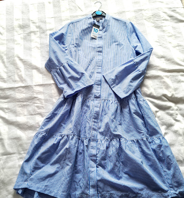 primark striped midi shirt dress tiered