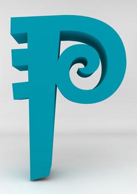 lettre 3D homme joker turquoise - P - images libres de droit
