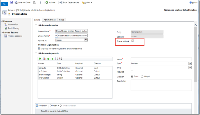 Utilizing CRM Custom Action for Transaction Rollback Purposes
