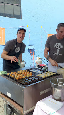 Portland Monthly Country Brunch 2016 - brunch bite by Broder of a warm fresh aebelskivers with lingonberry