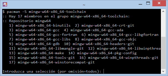 Instalar MinGW GNU GCC en Windows con MSYS2