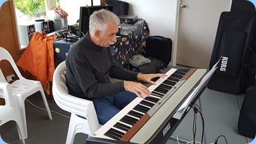 Claude Moffat playing Ken Mahy's Korg SP-250 digital piano.