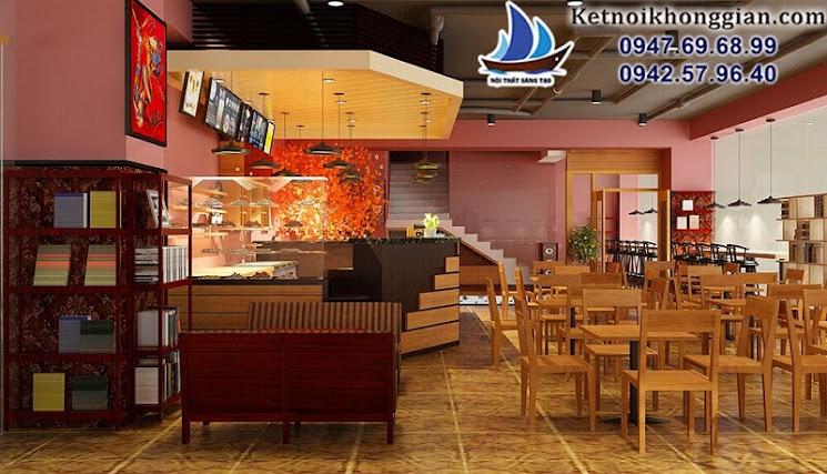 thiết kế quán cafe sách Ola