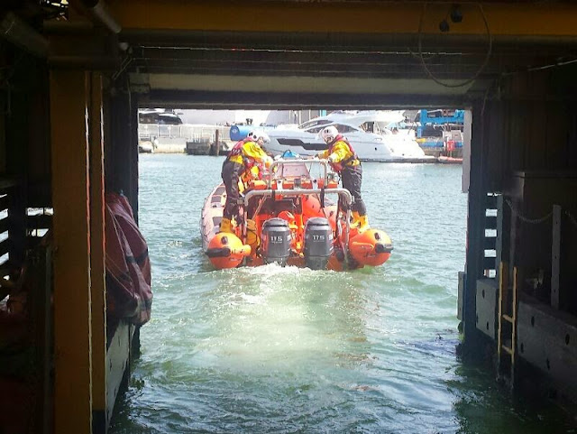 Poole ILB and crew launching to their 50th shout of 2014 to a borken down RIB 20 June 2014 Photo: RNLI Poole/Dave Bursey