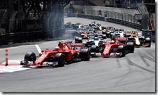 La partenza del gran premio di Monaco 2017