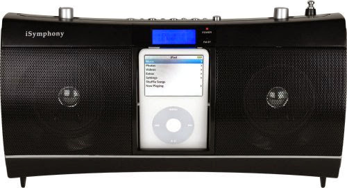 iSymphony CR1 Portable Clock Radio Music System with Built-in Universal Dock for iPod (Black)