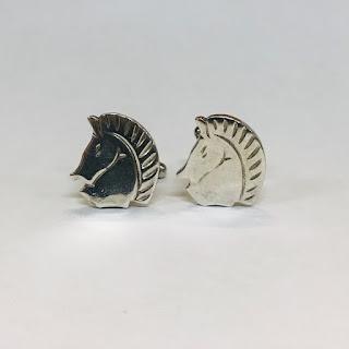 Sterling Silver Modernist Horse Head Cufflinks
