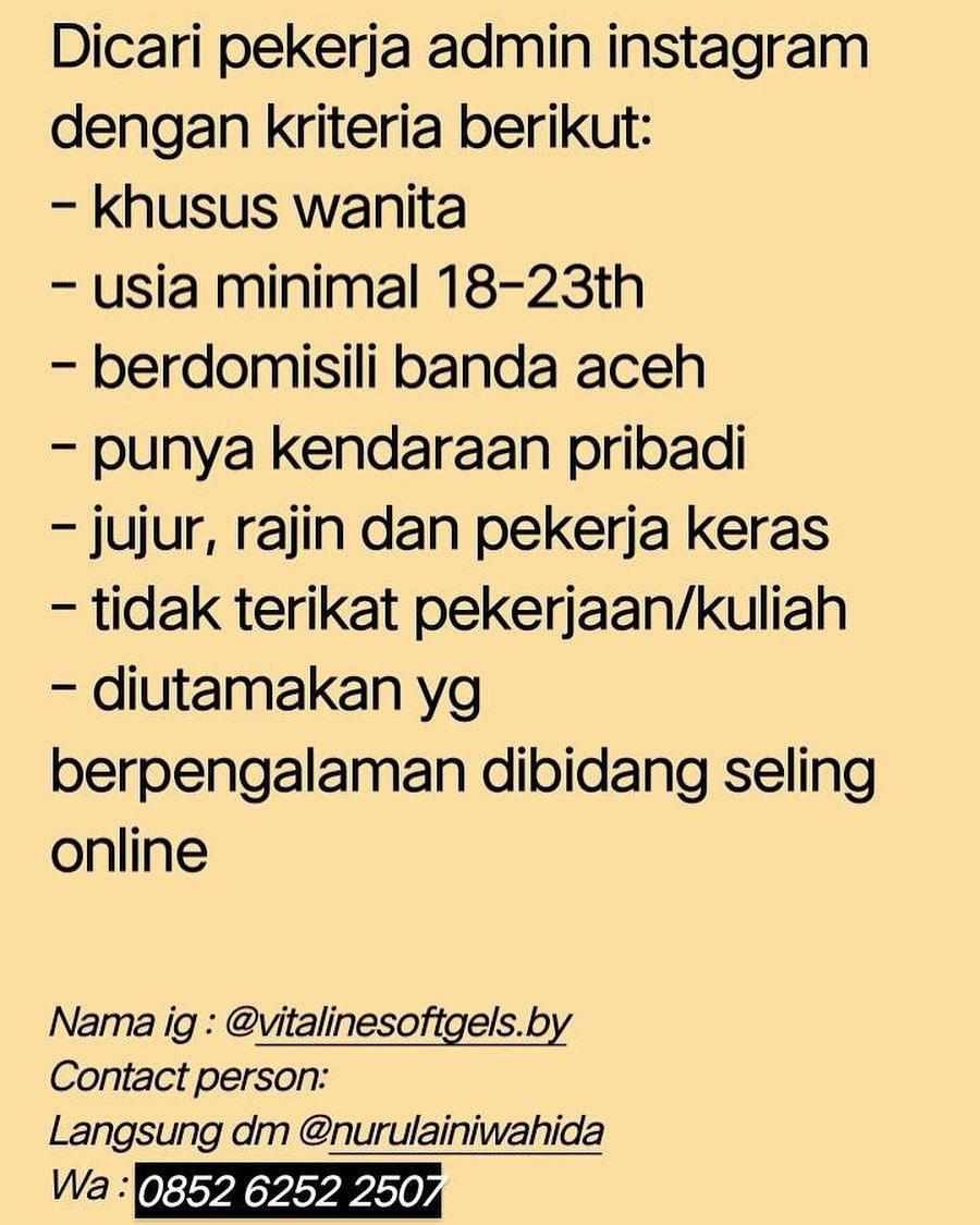 Lowongan Kerja Admin Instagram Agustus 2020 Karir Aceh
