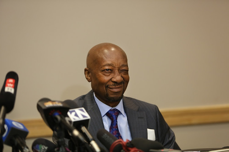 Suspended SARS commissioner, Tom Moyane, at a press conference at the Protea Hotel in Illovo, Johannesburg on July 9 2018.