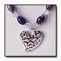 Thumbnail of Sodalite and Swarovski Necklace with Hammered Heart