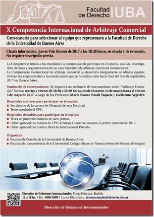 Afiche charla informativa Competencia  ARBITRAJE 2017