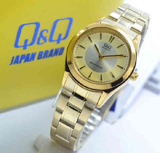 jam tangan Q&Q Q933J010Y full gold chain
