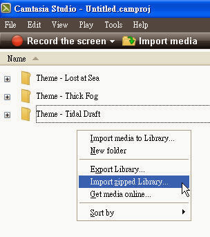 how to import camtasia 3 library download
