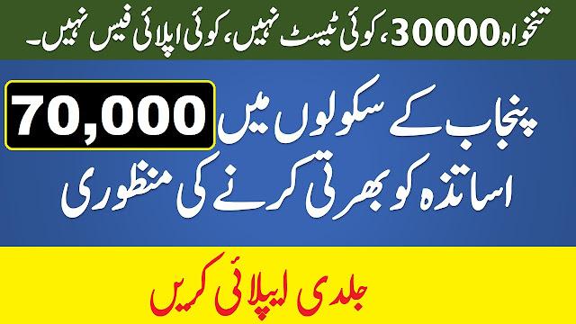 Punjab Educators 70,000 Teaching Jobs 2021 Apply Online
