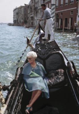 Peggy Guggenheim in a gondola in Venice, 1968