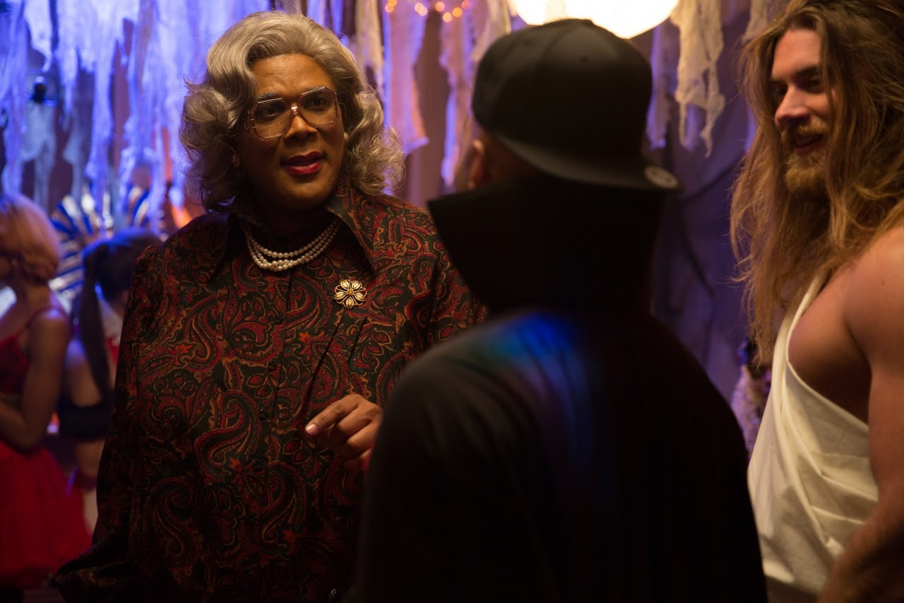 (L-R) Madea (Tyler Perry) and Horse (Brock O'Hurn) in BOO! A MADEA HALLOWEEN. (Photo by Eli Joshua / Lionsgate).