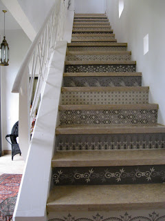 Moorish Pattern Stencil Painted Stairs