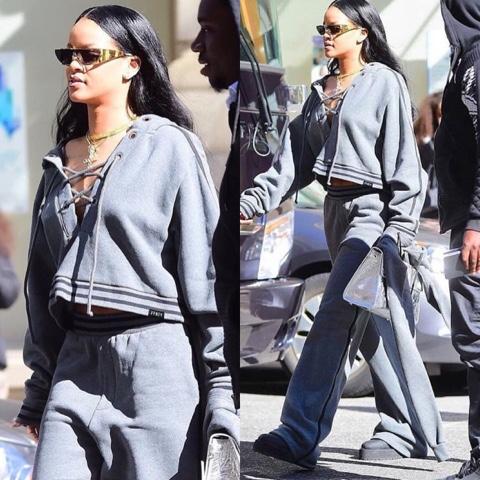 Rihanna in FENTY x PUMA Fall 2016 Lace Up Sweatshirt and Sweatpants